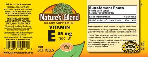 Vitamin E 45 mg (100 IU)
