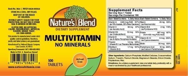 multivitamin no minerals