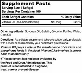Vitamin D3 125 mcg (5000 IU) Easy-To-Swallow