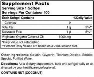 Coconut Oil 1000 mg 100% Virgin