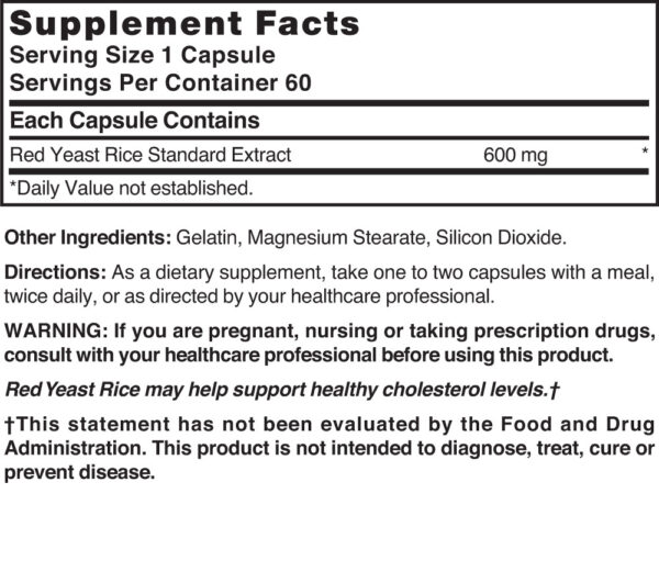 Red Yeast Rice Extract 600 mg