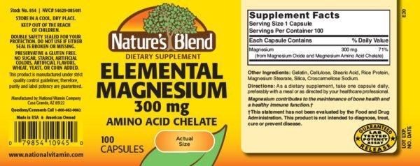 Magnesium Elemental (Amino Acid Chelate) 300 mg