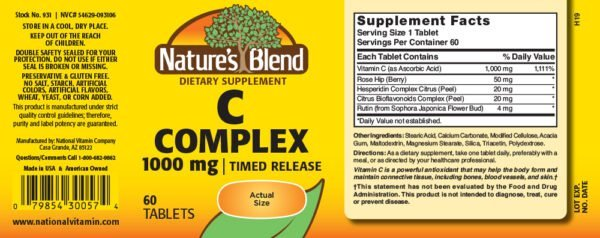 Vitamin C Complex 1000 mg Timed Release