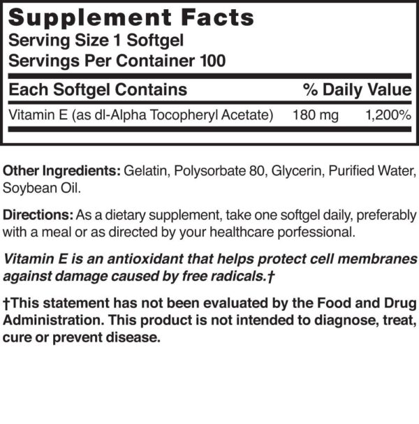 Vitamin E 180 mg (400 IU) Water Soluble