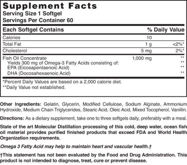 Omega-3 Fish Oil 1000 mg Odorless Enteric Coated