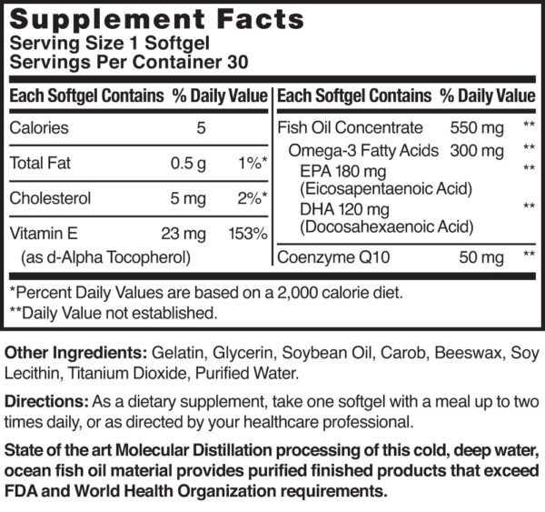 Omega-3 Fish Oil 1000 mg, Co-Enzyme Q10 50 mg and Vitamin E