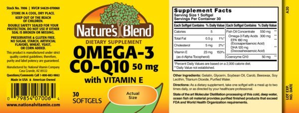 Omega-3 Fish Oil 1000 mg Co-Enzyme Q10 50 mg and Vitamin E