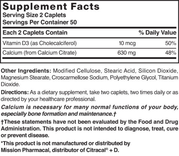 Calcium Citrate 630 mg with D3 10 mcg