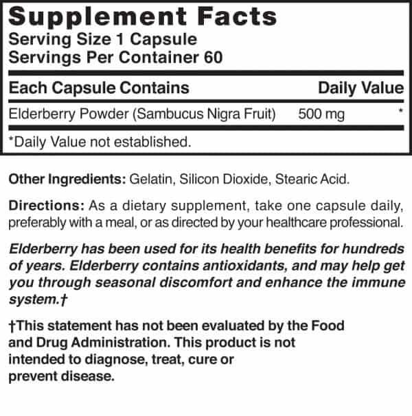 elderberry supplement facts